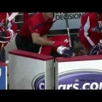 Ovechkin Tumbles Into The Bench 4/19/12