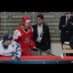 WHC- Italian Knocks Danish Player onto Bench- 3/7/12