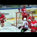 KHl Goalie Makes Blind Pass Doesn't End Well – 12-20-2012