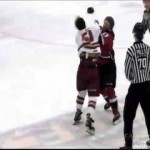 BCHL – Great Fight  at Coquitlam vs Chilliwack Game – 2-11-2013