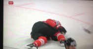 Eric Staal Injured vs Sweden at WHC – 5-16-2013
