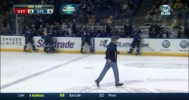 Bouwmeester Loses Stick and Glass Breaks