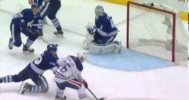Save! – Bernier Dives to Rob the Oilers – 10-12-2013