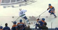 Yakupov Big Open Ice Hit on Daniel Sedin (11/1/14)